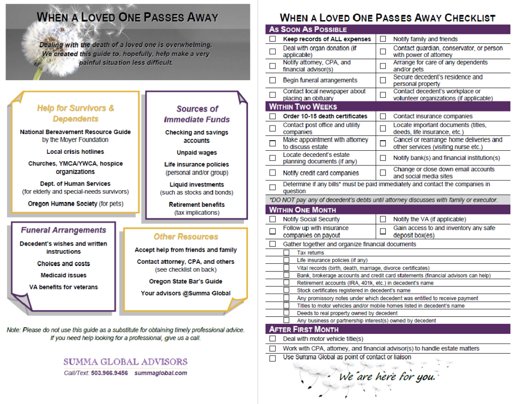 When a Loved One Passes Away Checklist